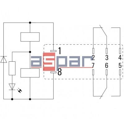 Relay, ZEST-DRI-LD-24DC-2CO-5A, 2CO, 5A, 24VDC