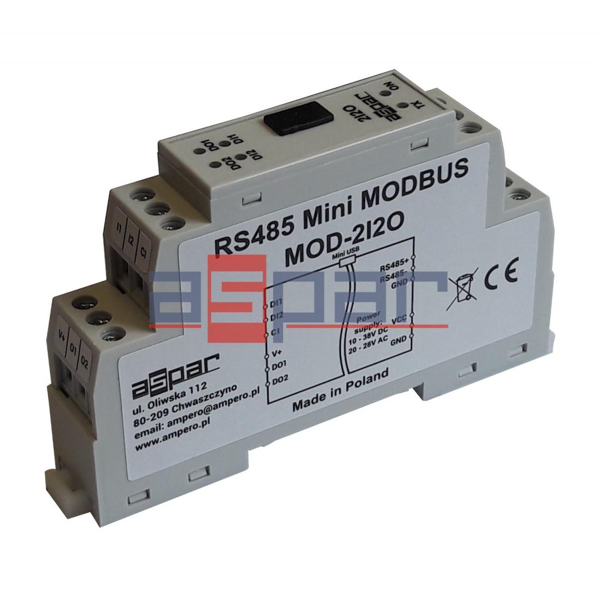 2 digital inputs, 2 digital outputs MOD-2I2O