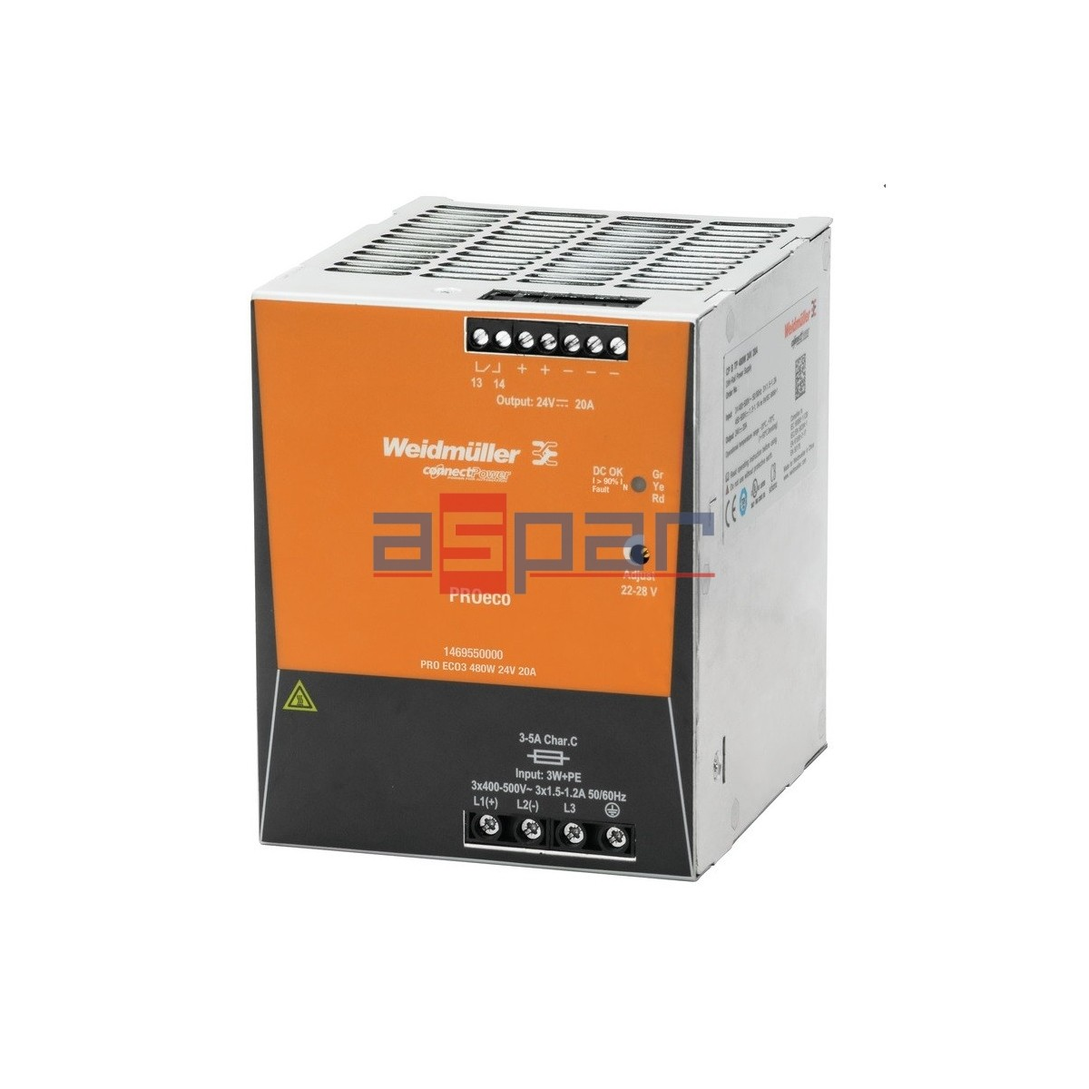switch-mode power supply unit, 24 V, PROeco 480W 24VDC 20A
