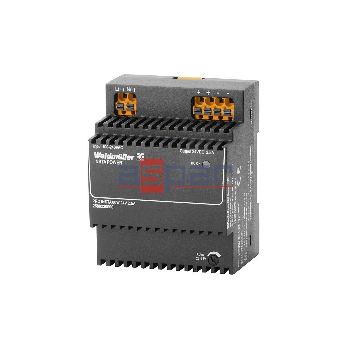 switch-mode power supply unit, 24 V, PRO INSTA 60W 24V 2.5A